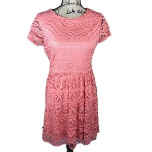 Emmalee Coral Lace Spring Dress NWT M